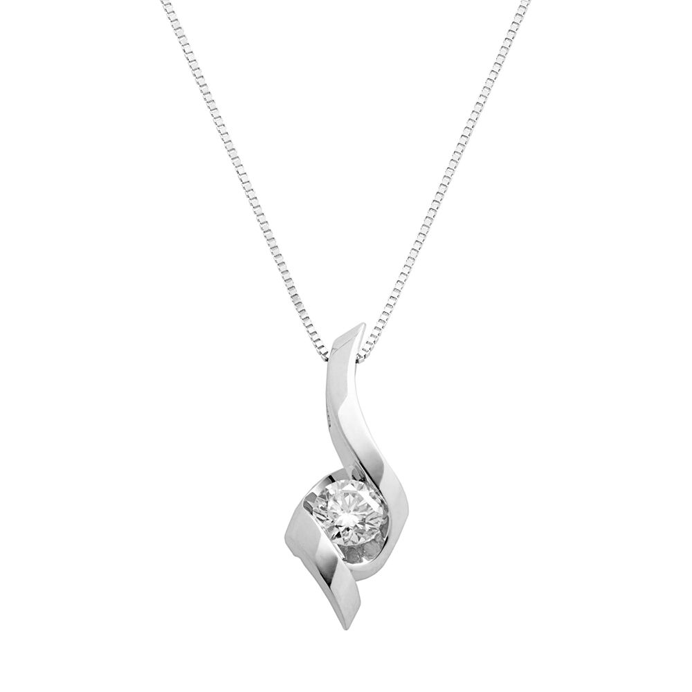 Sirena collection 14k white gold 13 ct tw solitaire diamond pendant aloadofball Image collections