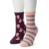 Women's SONOMA Goods for Life™ 2-pk. Mittens & Stripes Gripper Slipper Socks