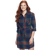 Juniors' SO® Lurex Plaid Shirt Dress