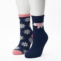 Women's SONOMA Goods for Life™ 2-pk. Snowflake & Polar Bear Gripper Slipper Socks