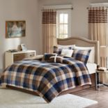 Madison Park 7 pc Buffalo Check Plush Comforter Set