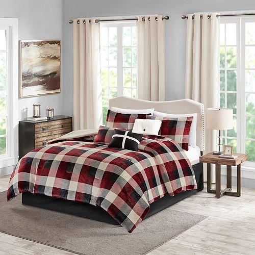 Madison Park 7 Piece Buffalo Check Plush Comforter Set