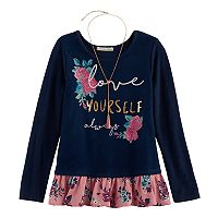 Girls 7-16 Self Esteem Ruffled Hem Graphic Top with Necklace