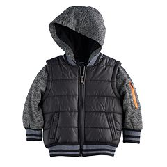 Boys 4-7 Urban Republic Mixed Media Mock Layer Quilted Midweight Jacket