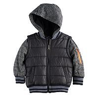 Toddler Boy Urban Republic Mixed Media Mock Layer Quilted Midweight Jacket