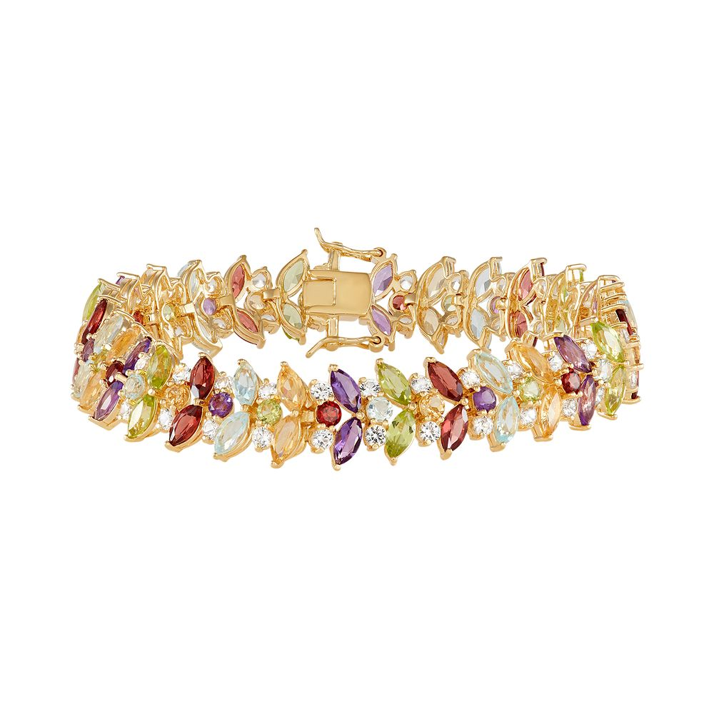 14k Gold Over Silver Marquise Gemstone Bracelet