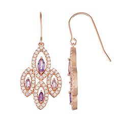 14k Rose Gold Over Silver Amethyst & Lab-Created White Sapphire Marquise Drop Earrings