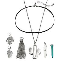 Mudd® Cactus, Hamsa & Leaf Interchangeable Charm Necklace Set