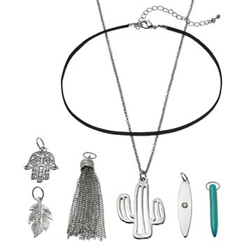 Mudd® Cactus, Hamsa & Leaf Interchangeable Charm Necklace Set