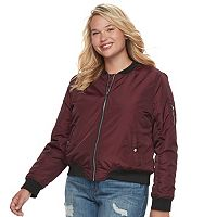 Juniors' Plus Size Sebby Contrast Trim Bomber Jacket