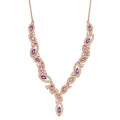 14k Rose Gold Over Silver Amethyst & Lab-Created White Sapphire Marquise Necklace