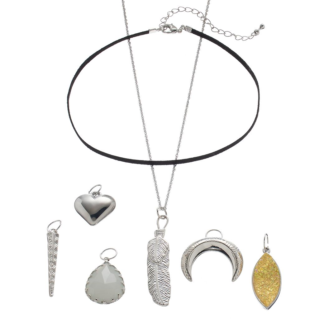 Mudd® Feather, Heart & Crescent Interchangeable Charm Necklace Set