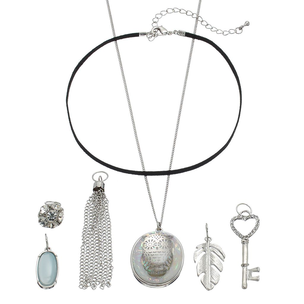 Mudd® Owl, Skeleton Key & Leaf Interchangeable Charm Necklace Set