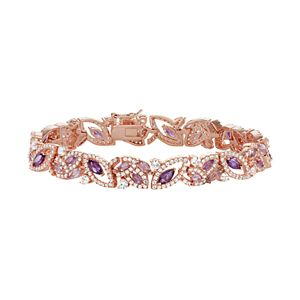14k Rose Gold Over Silver Amethyst & Lab-Created White Sapphire Marquise Bracelet