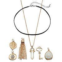 Mudd® Skeleton Key, Hamsa & Leaf Interchangeable Charm Necklace Set