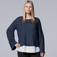 Plus Size Simply Vera Vera Wang Mock-Layer Bell Top