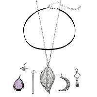 Mudd® Crescent, Starburst & Leaf Interchangeable Charm Necklace Set