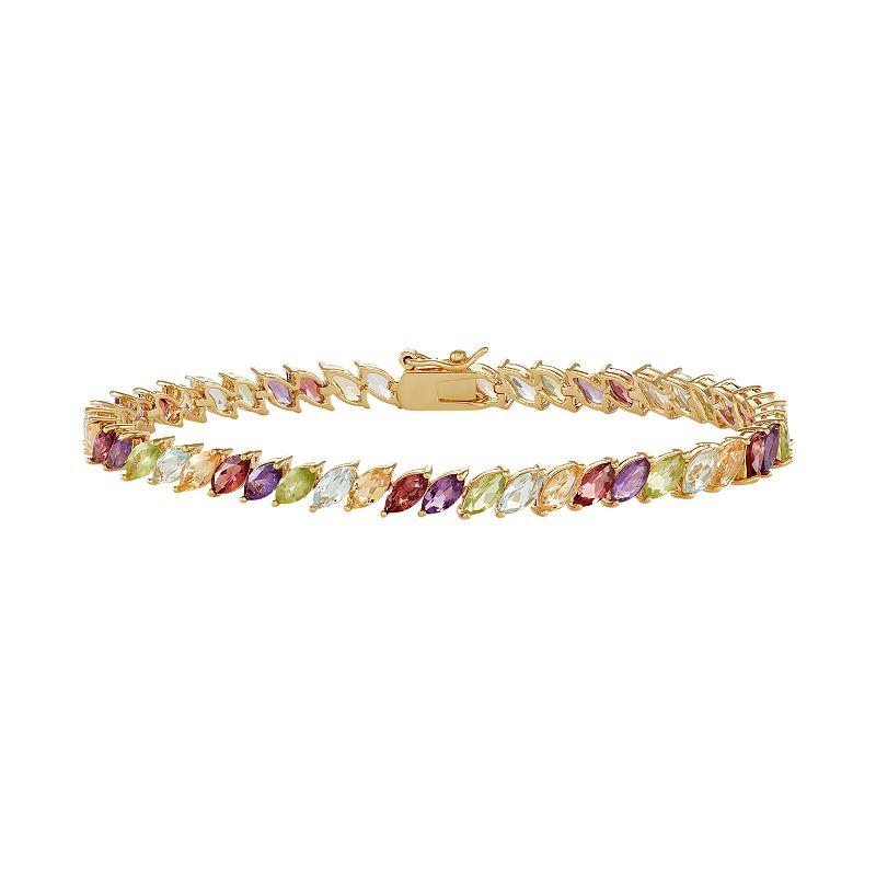 """14k Gold Plated Gemstone Marquise Bracelet. Women's. Size: 7.25"""". Multicolor"""
