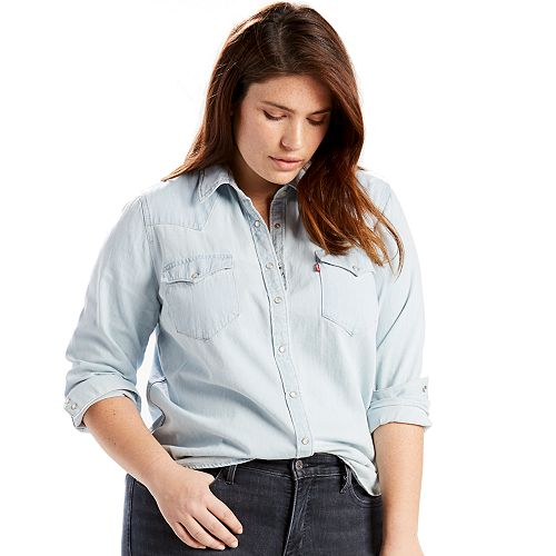 Plus Size Levi's Western Denim Shirt