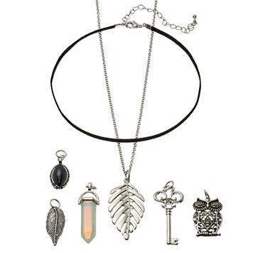 Mudd® Owl, Leaf & Skeleton Key Interchangeable Charm Necklace Set