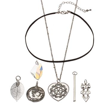Mudd® Heart, Coin & Leaf Interchangeable Charm Necklace Set