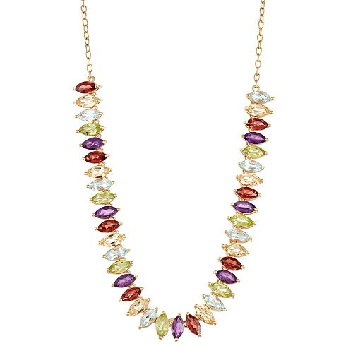 14 Gold Plated Marquise Gemstone Necklace
