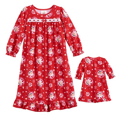 Toddler Girl The Elf On The Shelf® Scout & Peppermints Ruffled Nightgown & Doll Dress Set