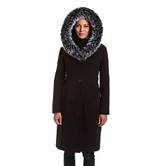 Women's Excelled Hooded Faux-Fur Trim Coat