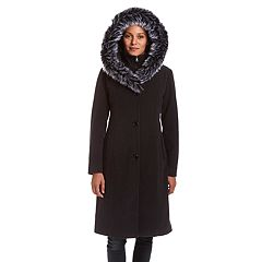 Women's Excelled Hooded Faux-Fur Trim Coat
