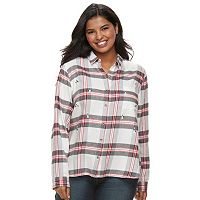 Juniors' Plus Size Faux-Gem Flannel Shirt