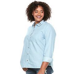 Juniors' Plus Size SO® Embellished Chambray Shirt