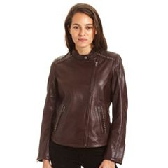 Women's Excelled Lambskin Studded Moto Jacket
