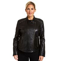 Plus Size Excelled Lambskin Studded Moto Jacket