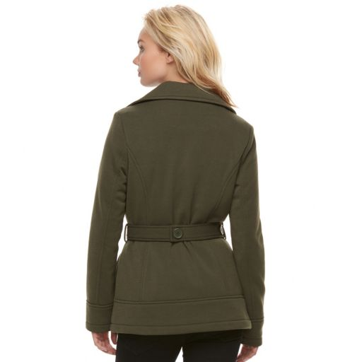 Juniors' J-2 Belted Double Breasted Coat