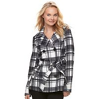 Juniors' J-2 Print Double Breasted Coat