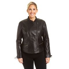 Plus Size Excelled Lambskin Moto Jacket