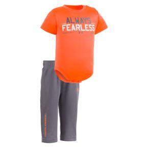 "Newborn Baby Boy Under Armour ""Always Fearless"" Bodysuit & Pants Set"