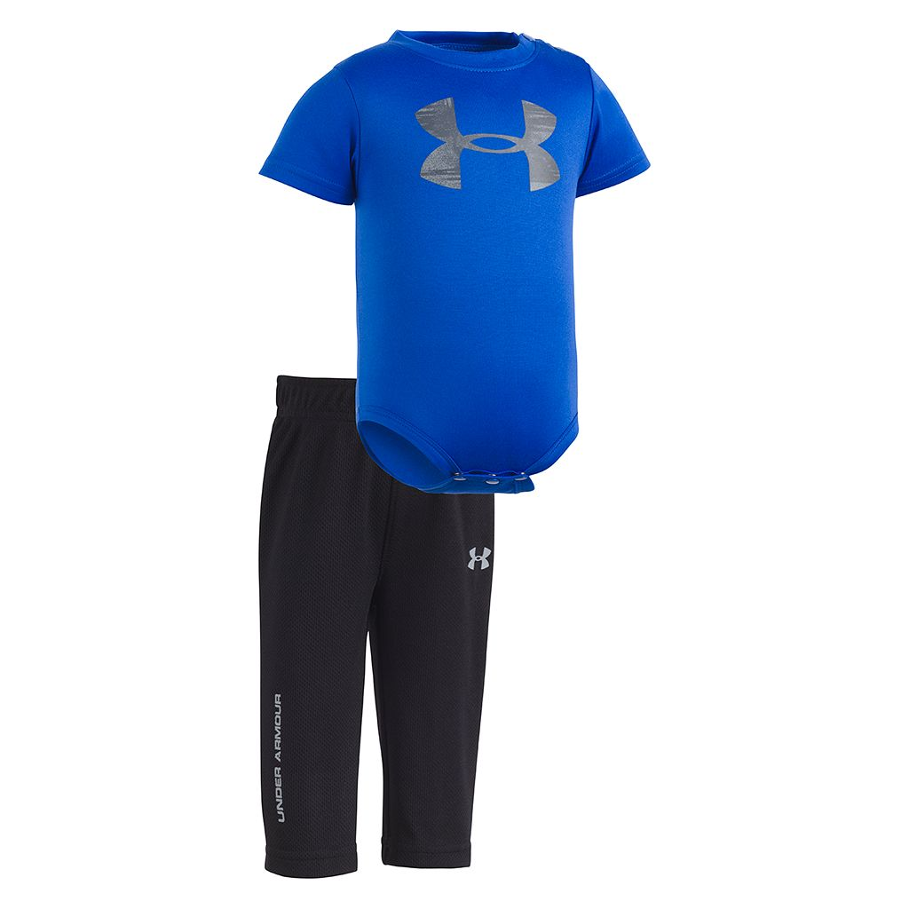 Newborn Baby Boy Under Armour Logo Bodysuit & Pants Set