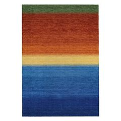 Couristan Oasis Ocean Sunset Striped Wool Rug