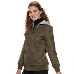 Juniors' Sebby Hooded Long Bomber Jacket
