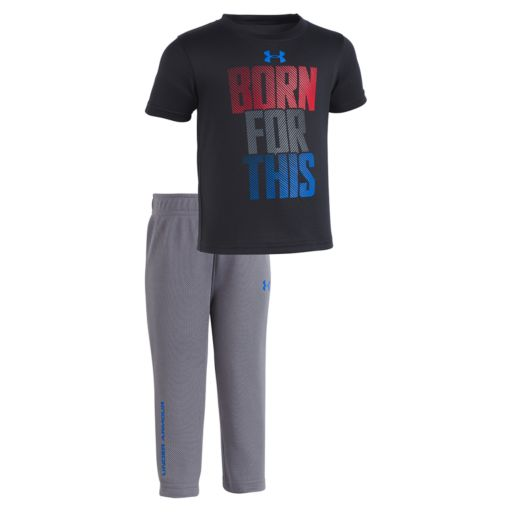 """Newborn Baby Boy Under Armour  """"Born For This"""" Tee & Pants Set"""