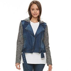 Juniors' Sebby French Terry Motorcycle Jean Jacket