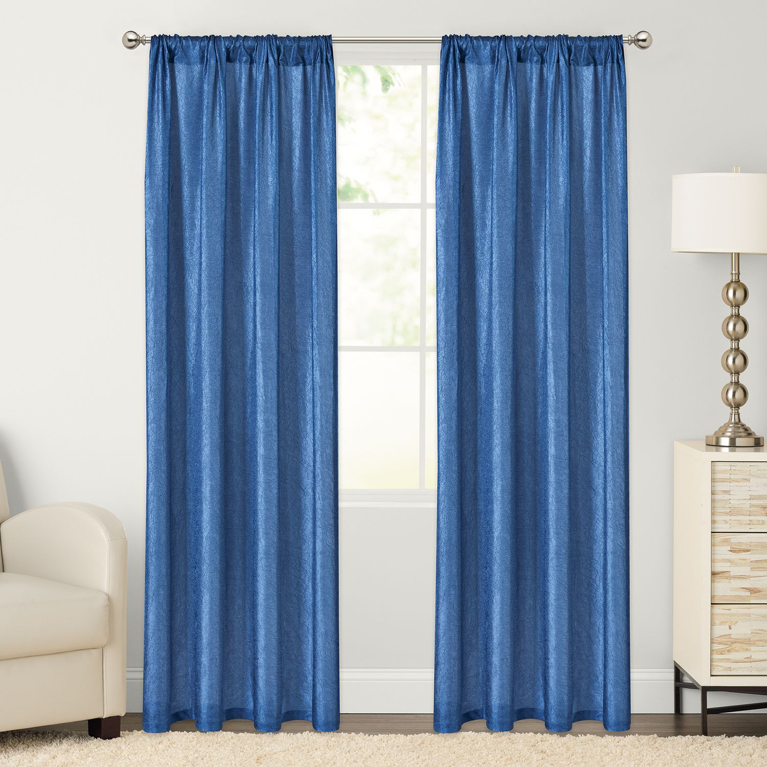The Big One® 2 Pack Crushed Voile Sheer Window Curtains