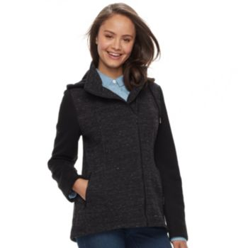 Juniors' Sebby Asymmetrical Marled Fleece Coat