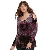Plus Size Rock & Republic® Strappy Cold-Shoulder Velvet Top