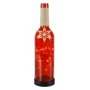 San Miguel Light-Up Snowflake Wine Bottle Table Decor