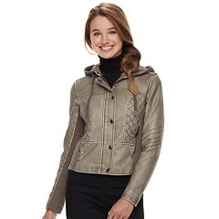 Juniors' Sebby Antiqued Faux-Leather Jacket