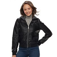 Juniors' Sebby Fleece Hood Faux-Leather Bomber Jacket