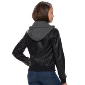 Juniors' Sebby Fleece Hood Faux-Leather Bomber Jacket