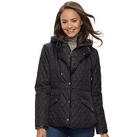 Juniors' Sebby Fleece Bib Hooded Quilted Jacket